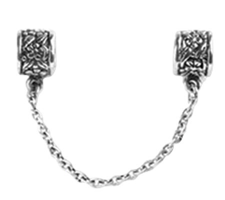 Prerogatives Sterling Security Chain Floral Bead