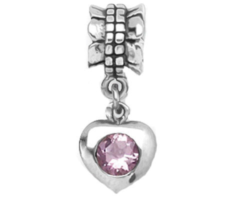 Prerogatives Sterling Pink Cubic Zirconia HeartDangle Bead