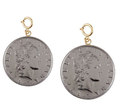 Set of 2 Fifty-Lire Coin Charms, 14K Gold