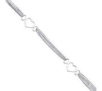 "Sterling 10"" Polished Heart Anklet - J111362"