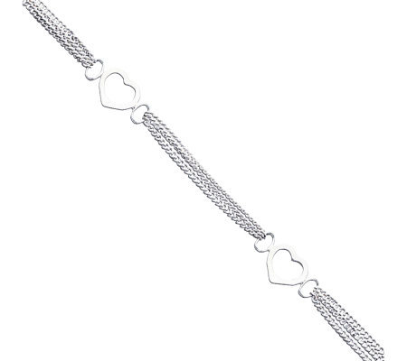 "Sterling 10"" Polished Heart Anklet"