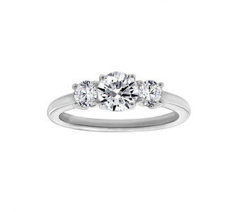 Diamonique 1.50 cttw 3 Stone Ring, Platinum Clad - J111662
