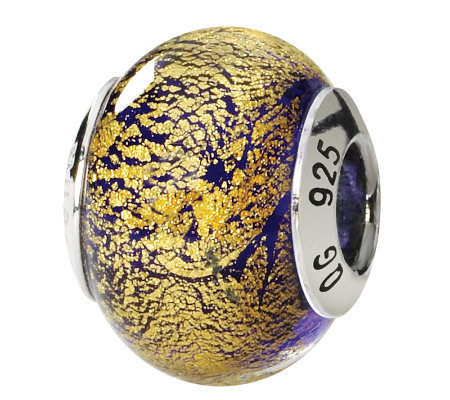 Prerogatives Sterling Gold/Purple Italian Murano Glass Bead