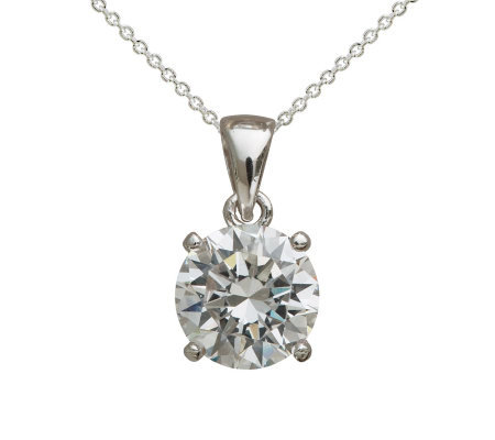 Diamonique 3 ct Round Pendant with Chain