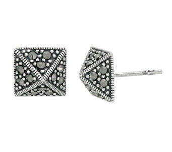 Suspicion Sterling Marcasite Pyramid Button Earrings - J112462