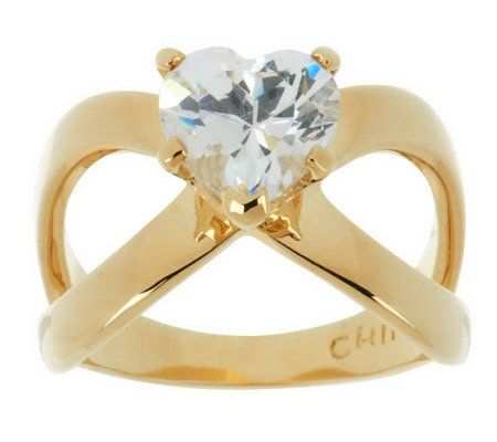 Simulated Diamond Heart-shaped Signature Ring