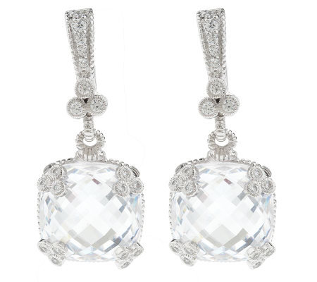 Judith Ripka Sterling White Diamonique Cushion Cut Drop Earrings
