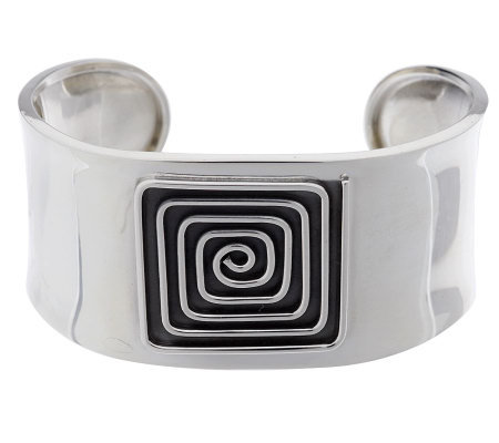 Dominique Dinouart Sterling Large Carved Pattern Cuff, 31.0g