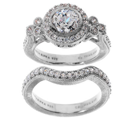 Judith Ripka Sterling 1.85ct Diamonique Bridal Ring Set