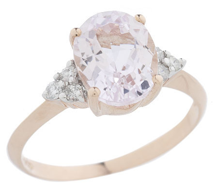 2.00 ct Oval Kunzite & 1/10 ct tw Diamond Ring 14K Rose Gold