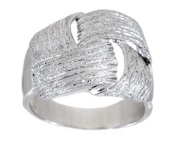 VicenzaSilver Sterling Textured Woven Design Wrapped Ring - J275962