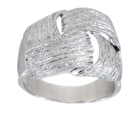 VicenzaSilver Sterling Textured Woven Design Wrapped Ring