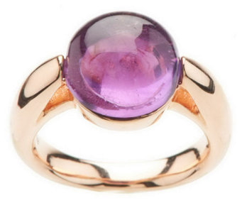 """As Is"" Bronzo Italia Round Cabochon Gemstone Ring - J279462"