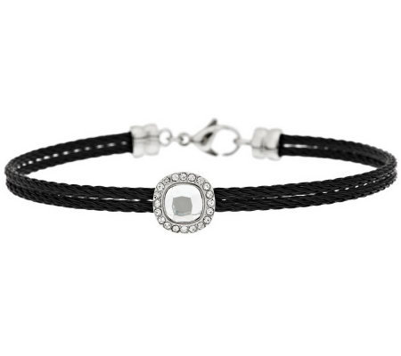 Stainless Steel Cushion Crystal Cable Bracelet