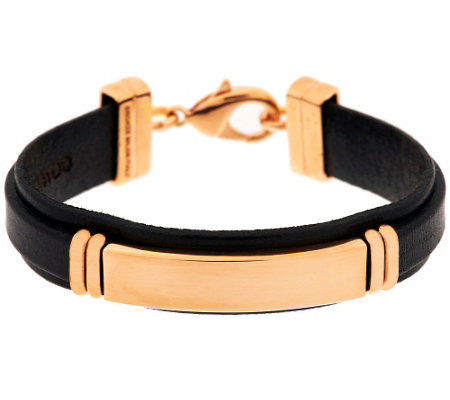 Bronze Polished ID Station Leather Bracelet by Bronzo Italia