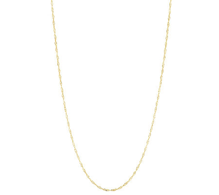"Vicenza Gold 24"" Singapore Chain Necklace 14K Gold, 1.4g"