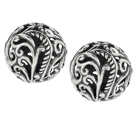 Carolyn Pollack Signature Sterling Button Earrings