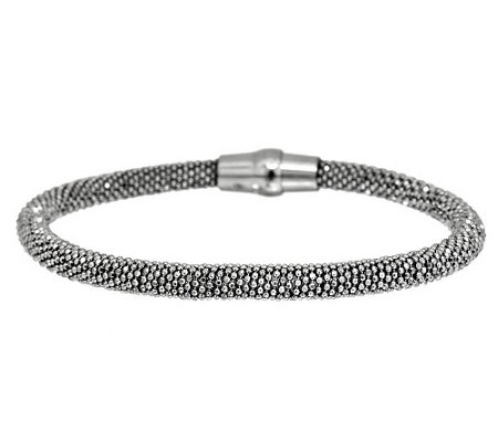 """As Is"" Italian Silver Sterling Wrapped Diamond Cut Bracelet"