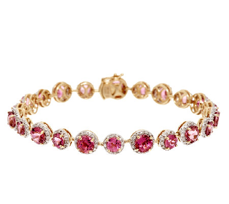 "9.00 ct tw Pink Tourmaline & 1.00 ct tw Diamond 6-3/4"" Bracelet, 14K"