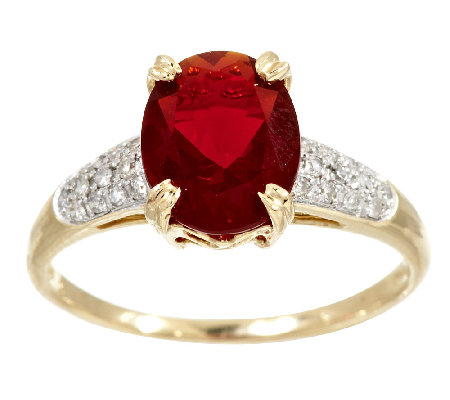 1.50 ct tw Red Fire Opal & 1/7 ct tw Diamond Ring 14K Gold