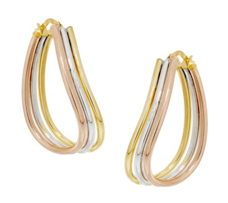 "Vicenza Gold 1-1/4"" Triple Tube Wave Hoop Earrings, 14K"