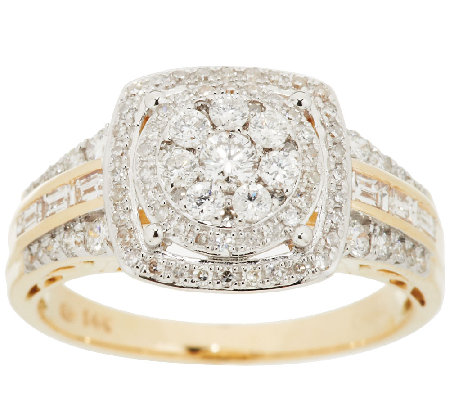 Round Cluster Design Halo Diamond Ring, 14K, 3/4cttw by Affinity