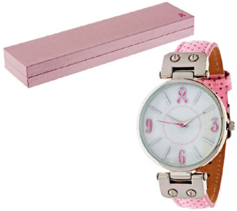 Gossip Pink Ribbon Perforated Strap Watch - J296062