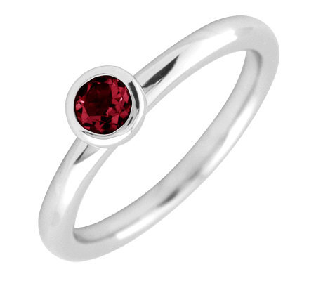 Simply Stacks Sterling 4mm Round Garnet Solitaire Ring