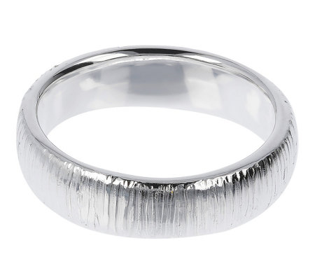 UltraFine Silver 5mm Textured Silk Fit Band Ring