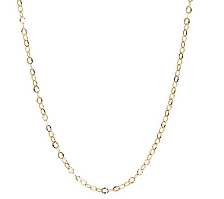 "Milor 36"" Hammered Oval Link Chain, 14K Gold 3.1g"