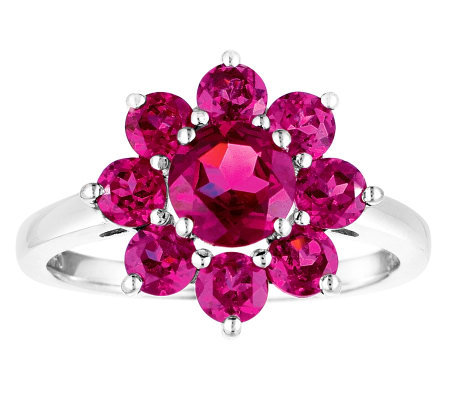 Sterling 2.75 cttw Rhodolite Flower Ring