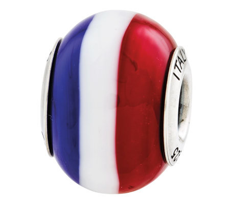 Prerogatives Sterling Red White Blue Italian Murano Glass Bead