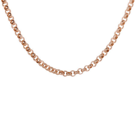 "Bronzo Italia 16"" Polished Rolo Link Necklace"