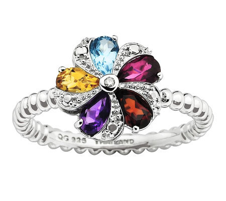 Simply Stacks Sterling Multi-Gemstone Flower Ring