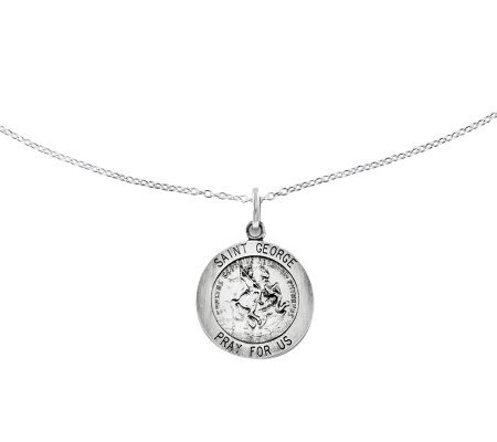 "Sterling Saint George Round Solid Pendant w/ 18"" Chain"