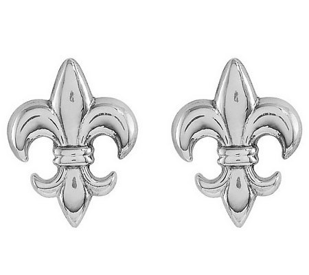 Polished Fleur-de-Lis Stud Earrings, 14K Gold