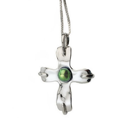 Hagit Gorali Sterling Cultured Pearl Cross Pendant w/ Chain