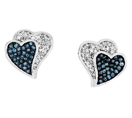 Blue & White Diamond Heart Earrings, Sterling by Affinity