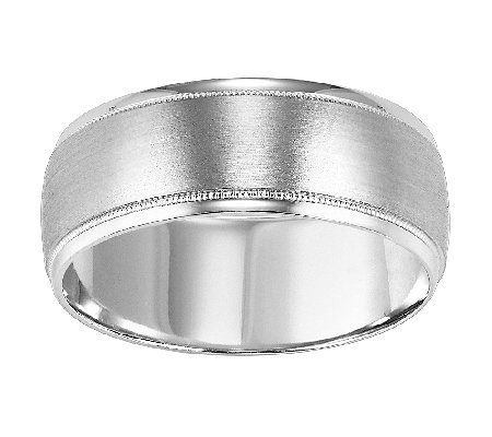 8.0mm Men's Brush Finish Wedding Band, 14K White Gold