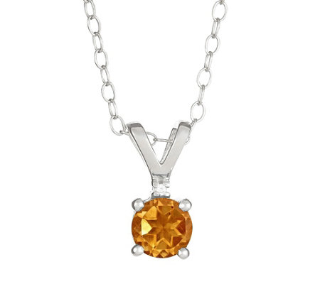 "Sterling Silver Gemstone Pendant w/Diamond Accent & 18"" Chain"