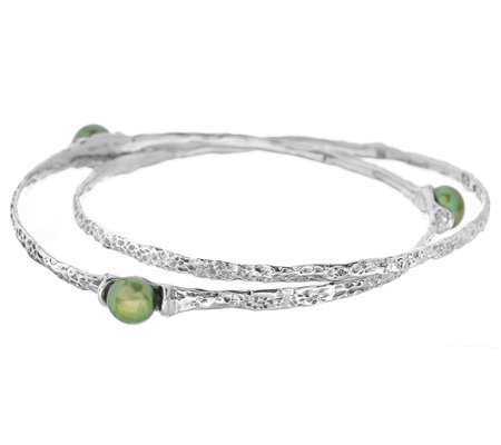 Hagit Sterling Cultured Pearl Interlocking Bangles