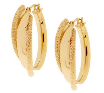 """As Is"" Vicenza Gold 1"" Polished & Textured Hoop Earrings, 14K - J318562"