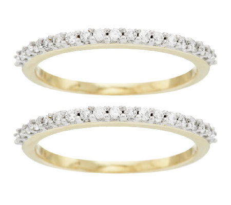 """As Is"" Set of 2 Diamond Band Rings, 14K Gold 3/8 ct tw by Affinity"