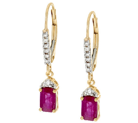 Emerald Cut Gemstone & Diamond Drop Earrings, 14K