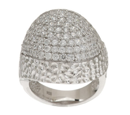 """As Is"" Italian Silver Sterling Pave' Crystal Domed Ring"