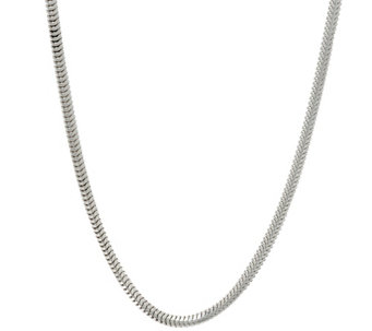 "UltraFine Silver Polished Snake 18"" Chain Necklace, 12.7g - J320262"