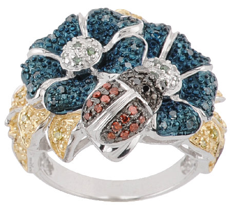 Flower Critter Multi-Color Diamond Ring, Sterling, 1/3ct tw, by Affinity