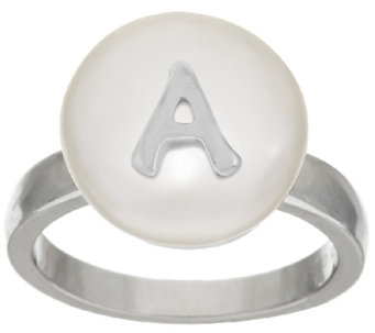 Honora Cultured Pearl 13.0mm White Coin Initial Sterling Ring - J323062
