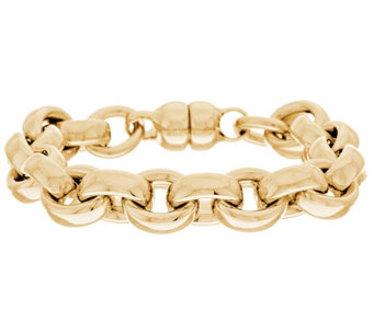 """As Is"" Oro Nuovo 8"" Oval Rolo Link Bracelet with Magnet 14K - J326162"
