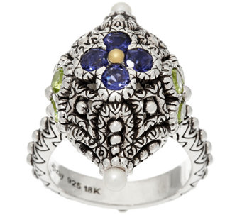 Barbara Bixby Sterling & 18K 1.30 cttw Gemstone Bead Ring - J326562